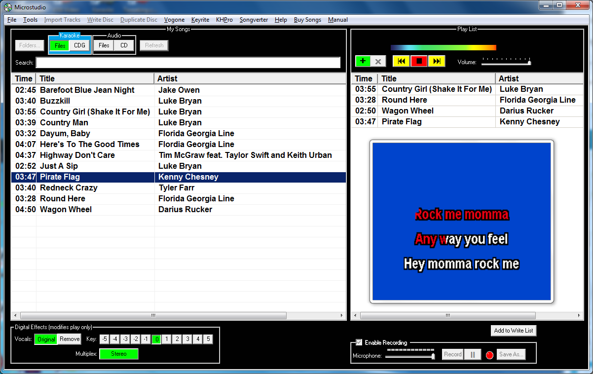 Karaoke Software to allow you to Play, Burn, Create, Import, Remove